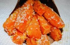 Сладкий картофель с кунжутом в фритюрнице Тефаль актифрай