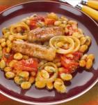 Рагу из сосисок и фасоли